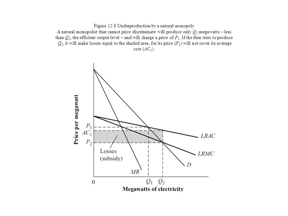 Figure 12.8 Underproduction by a natural monopoly A natural monopolist that cannot price discriminate will produce only Q1 megawatts – less than Q2, the efficient output level – and will charge a price of P1.
