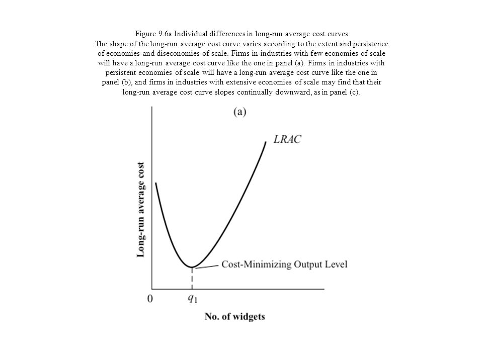 Figure 9.6a Individual differences in long-run average cost curves The shape of the long-run average cost curve varies according to the extent and persistence of economies and diseconomies of scale.