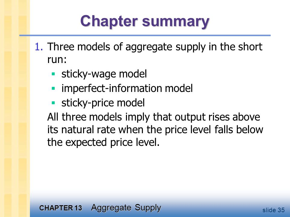 Chapter summary 2. Phillips curve derived from the SRAS curve