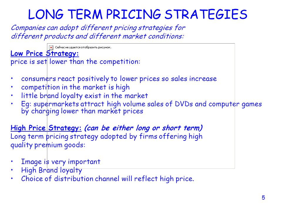 LONG TERM PRICING STRATEGIES