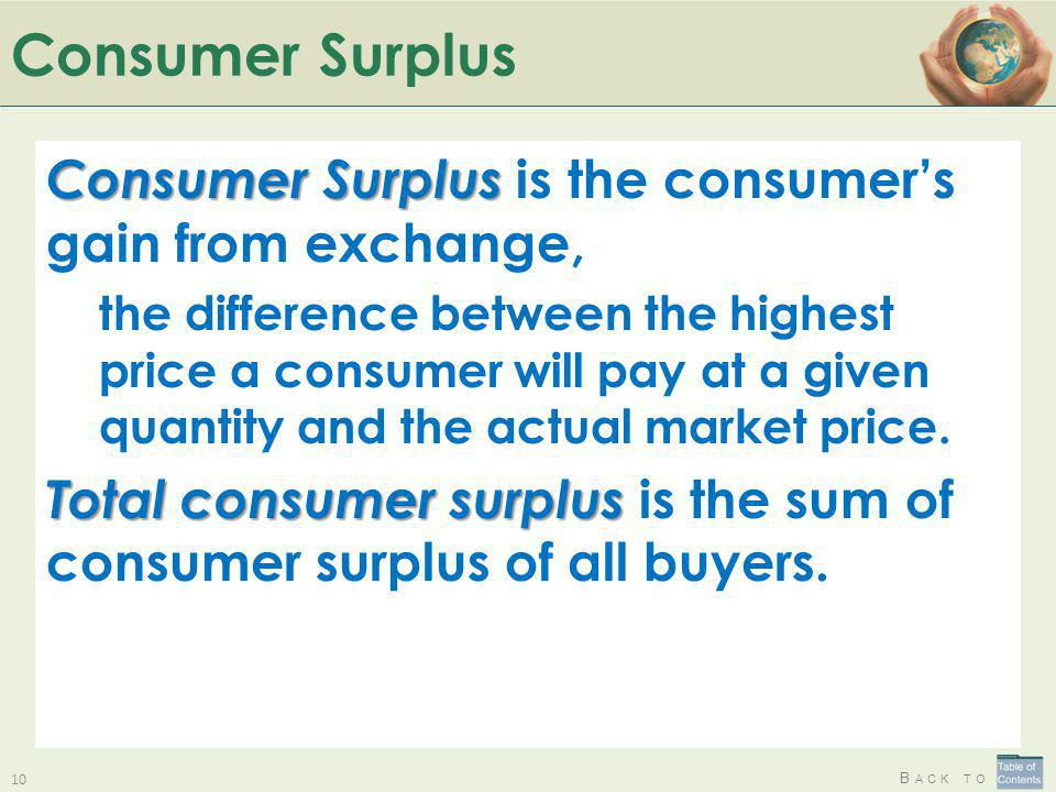 Consumer Surplus Consumer Surplus is the consumer's gain from exchange,