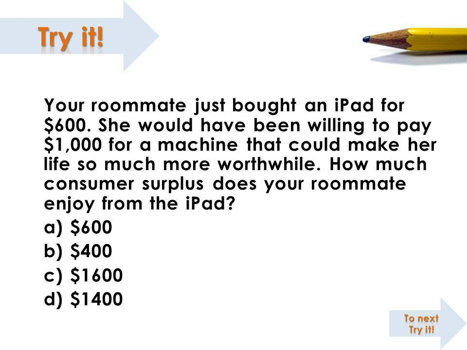 Your roommate just bought an iPad for $600