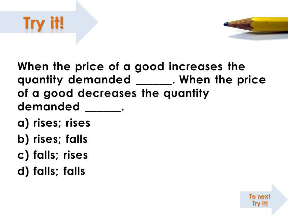 When the price of a good increases the quantity demanded ______