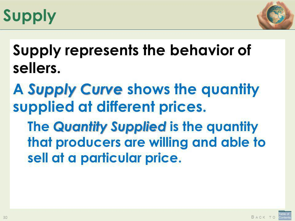 Supply Supply represents the behavior of sellers.