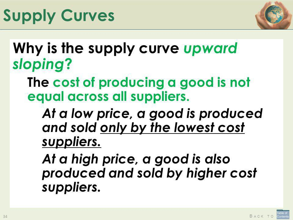 Supply Curves Why is the supply curve upward sloping