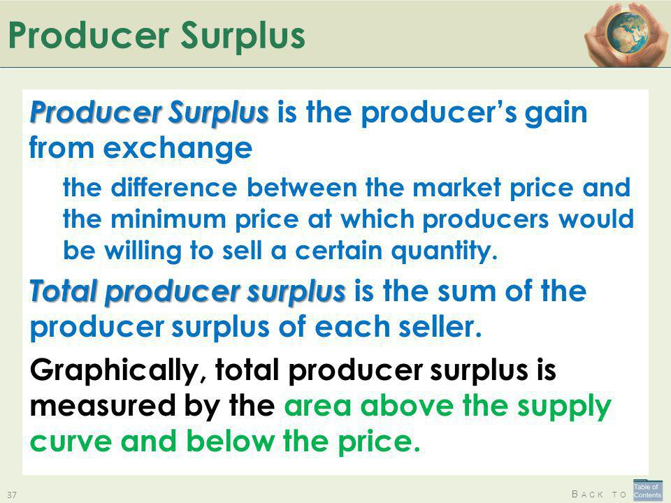 Producer Surplus Producer Surplus is the producer's gain from exchange