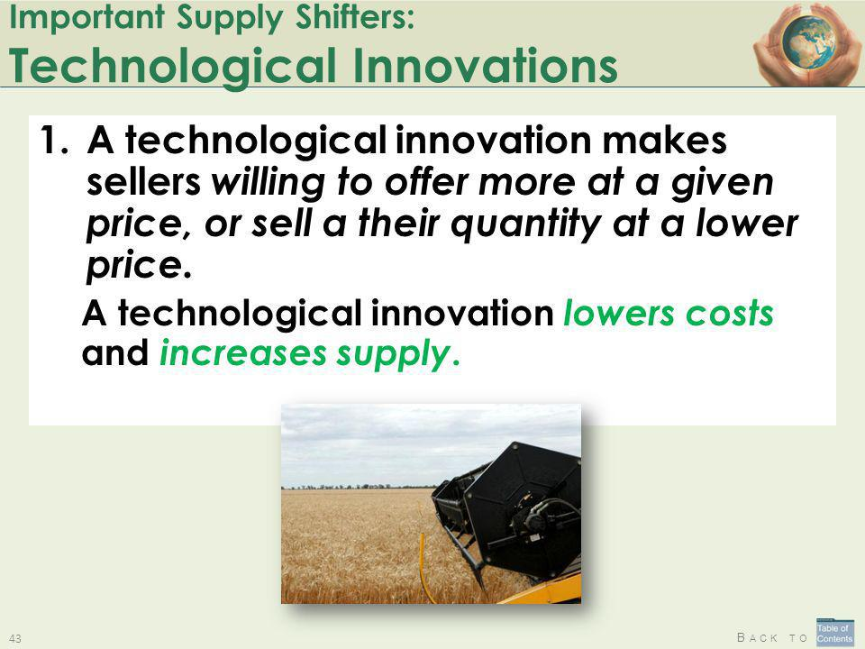 Important Supply Shifters: Technological Innovations