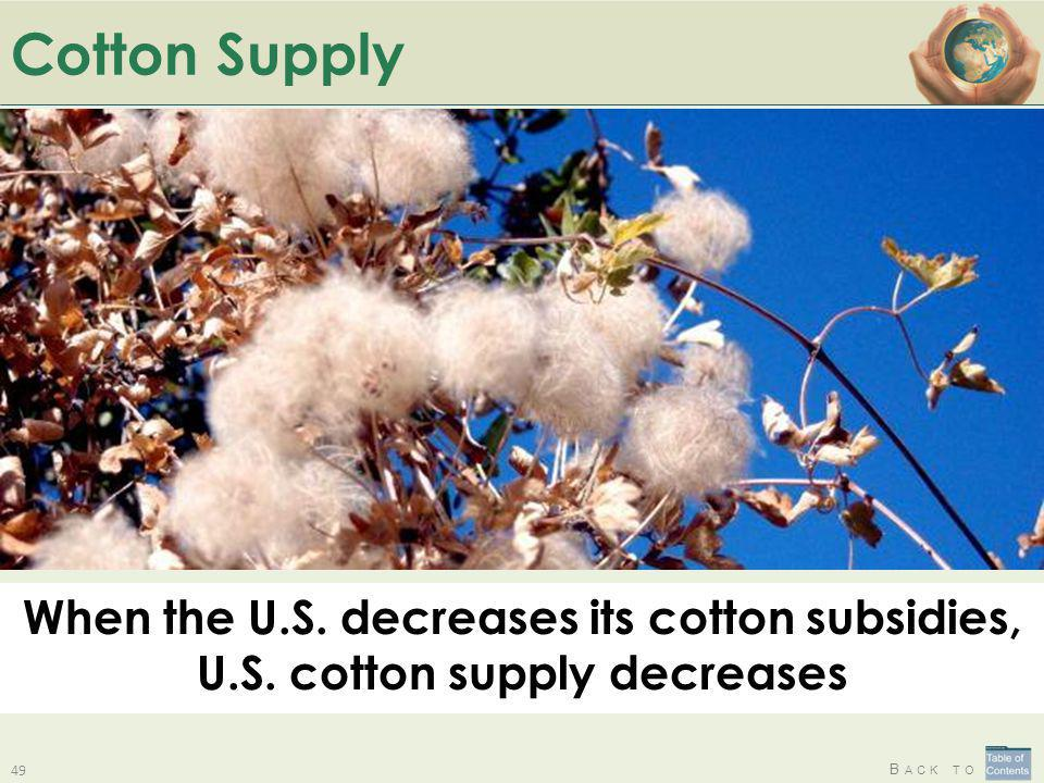 Cotton Supply When the U.S. decreases its cotton subsidies, U.S. cotton supply decreases