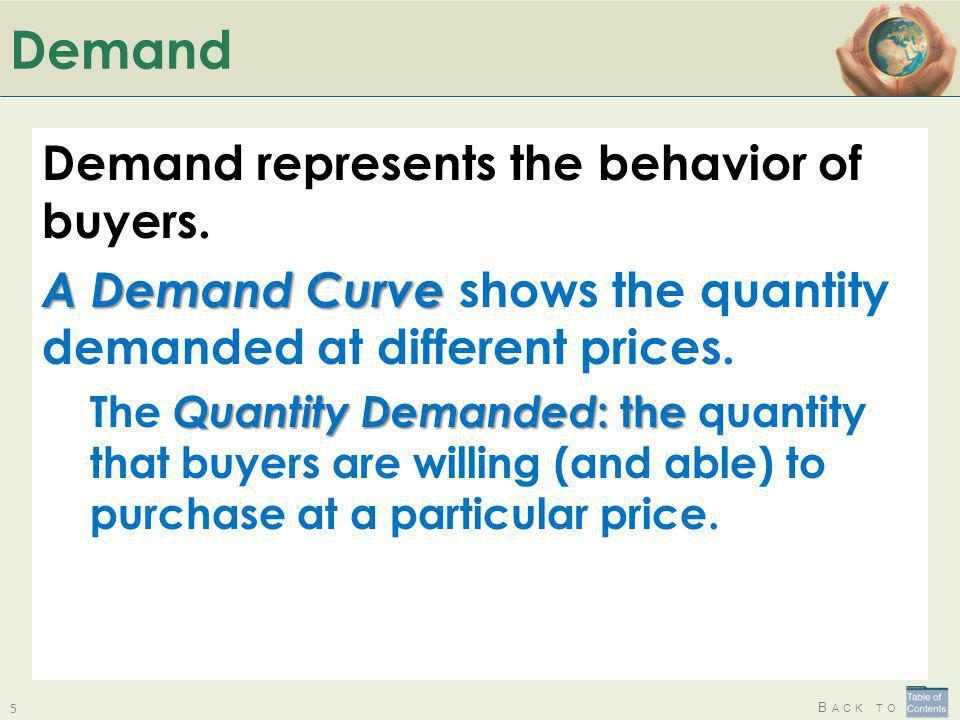 Demand Demand represents the behavior of buyers.
