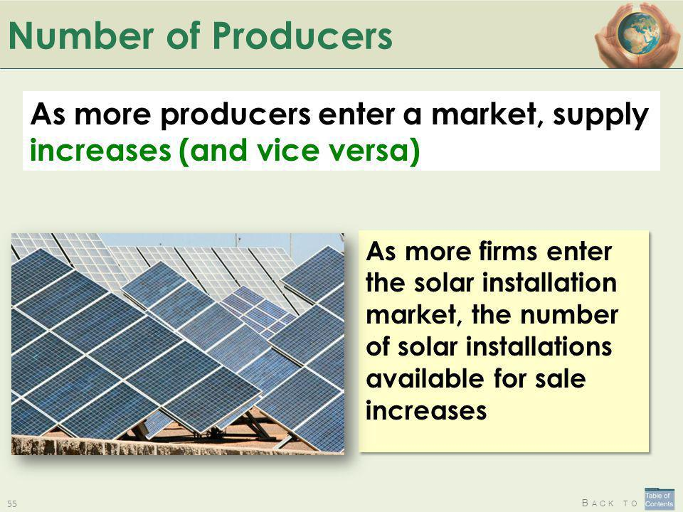 Number of Producers As more producers enter a market, supply increases (and vice versa)