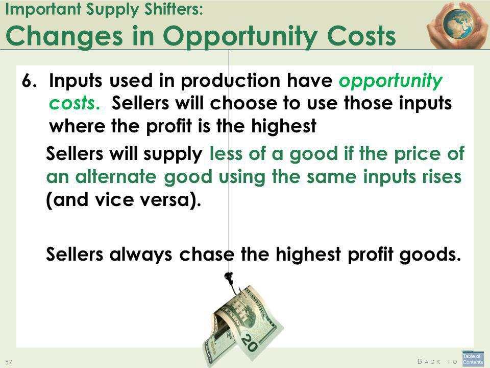 Important Supply Shifters: Changes in Opportunity Costs