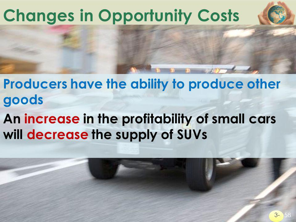 Changes in Opportunity Costs