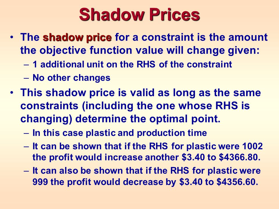 Shadow Prices The shadow price for a constraint is the amount the objective function value will change given: