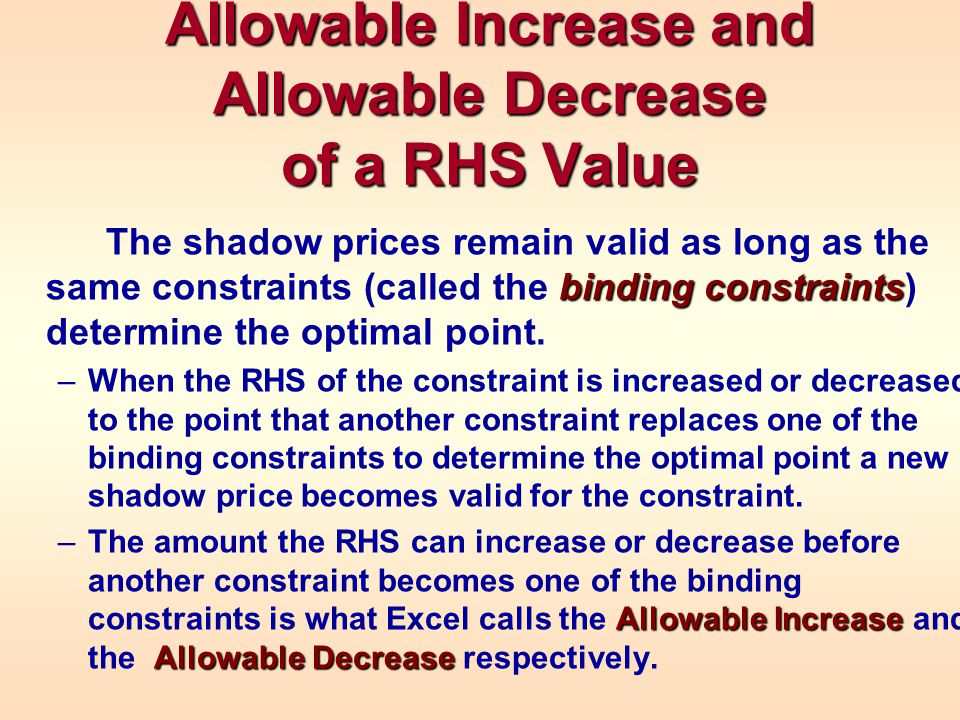 Allowable Increase and Allowable Decrease of a RHS Value