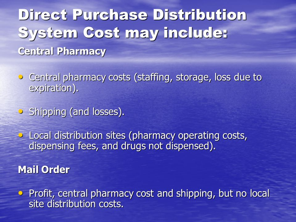 Direct Purchase Distribution System Cost may include: