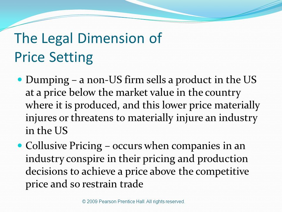 The Legal Dimension of Price Setting