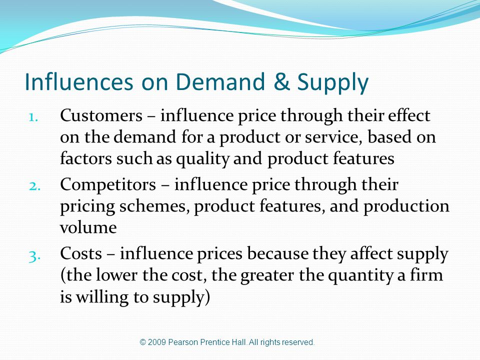 Influences on Demand & Supply