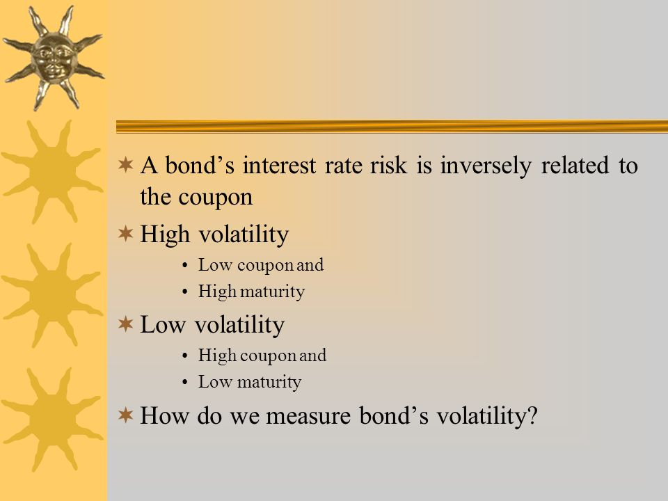 A bond's interest rate risk is inversely related to the coupon