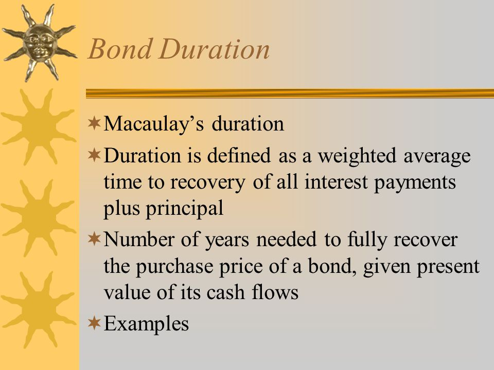 Bond Duration Macaulay's duration