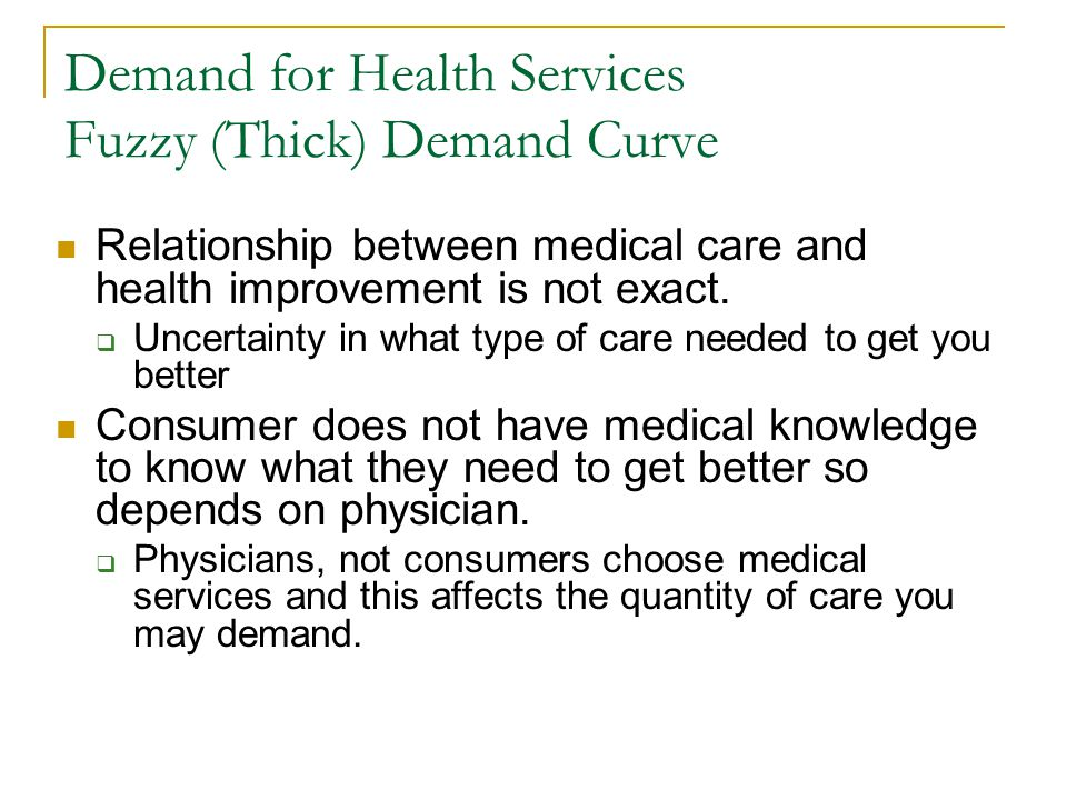 Demand for Health Services Fuzzy (Thick) Demand Curve