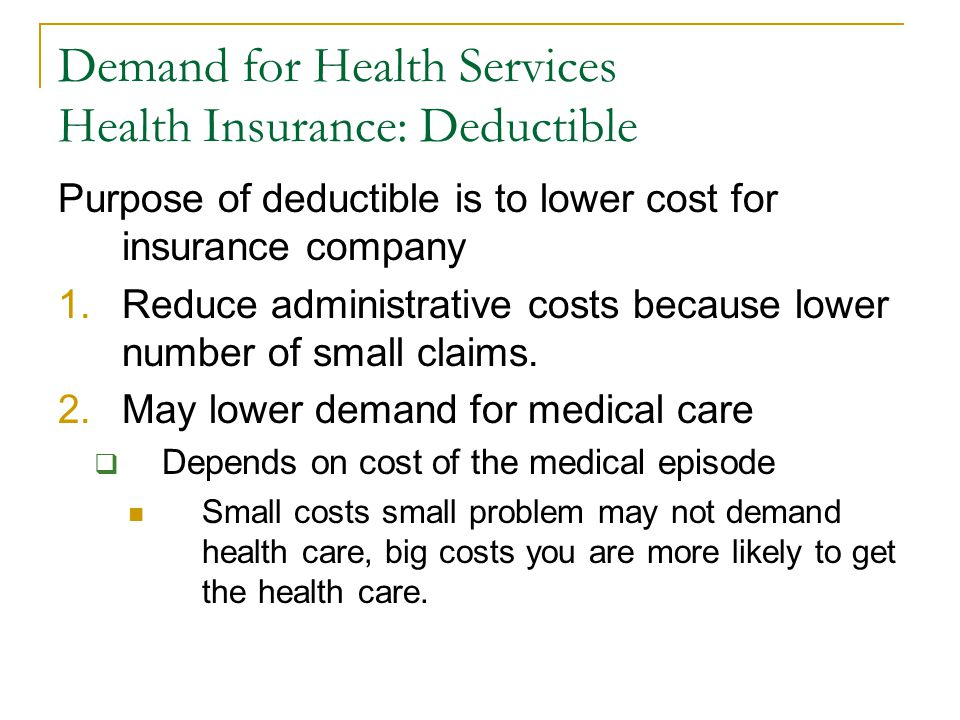 Demand for Health Services Health Insurance: Deductible