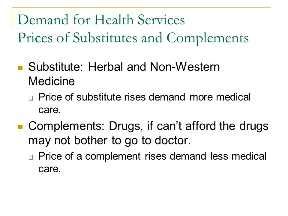 Demand for Health Services Prices of Substitutes and Complements