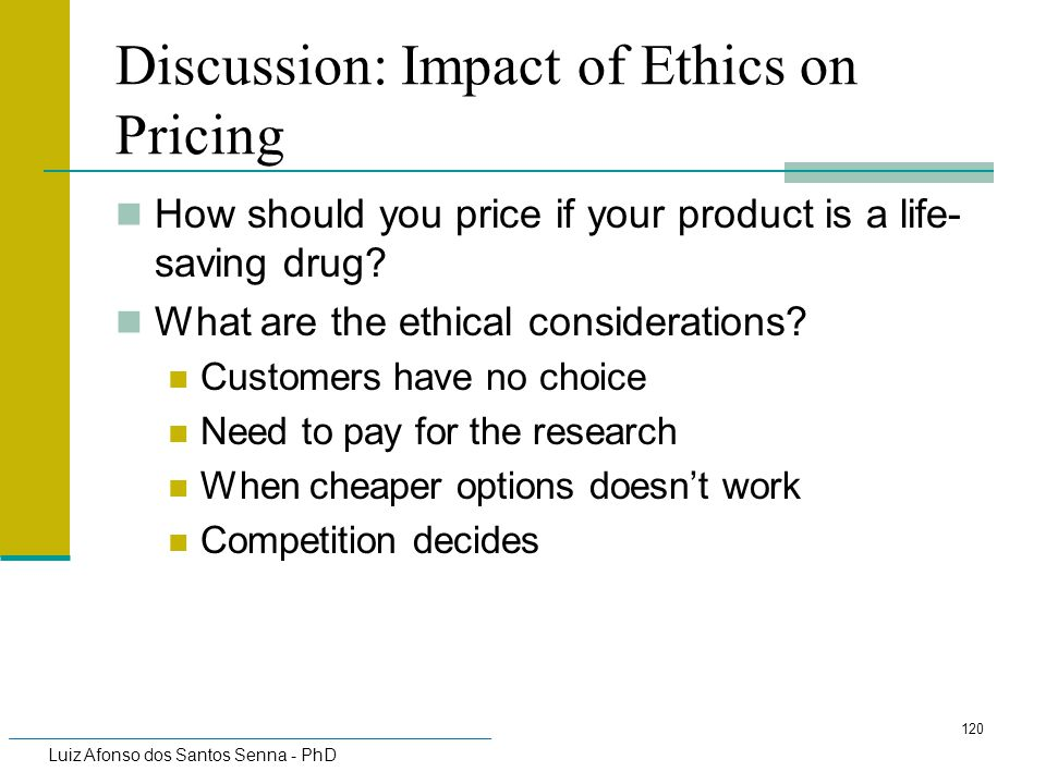 Discussion: Impact of Ethics on Pricing