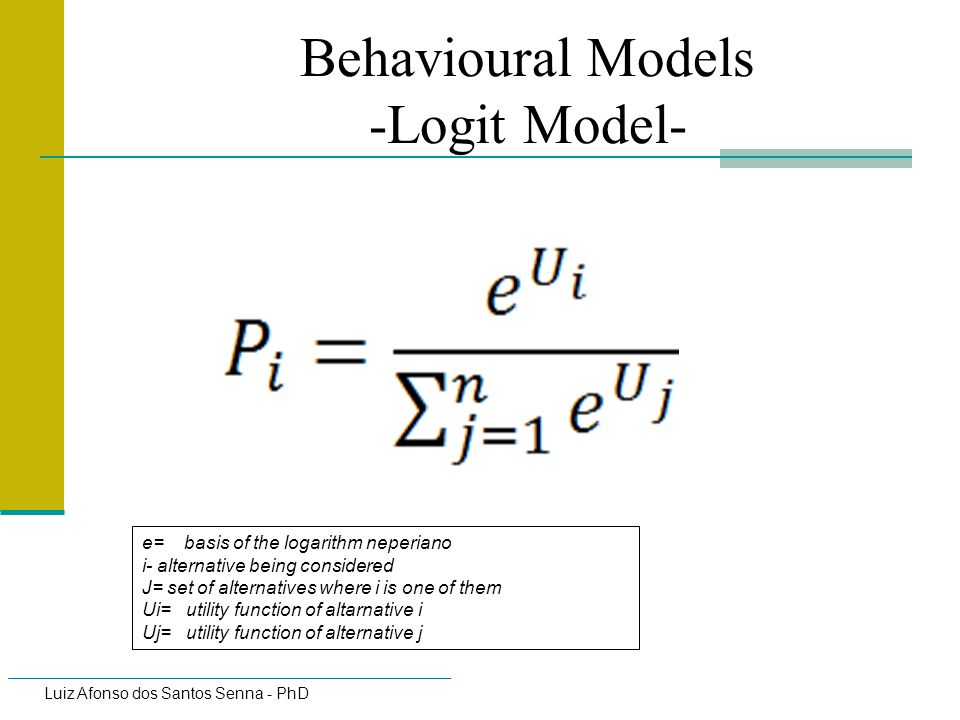 Behavioural Models -Logit Model-