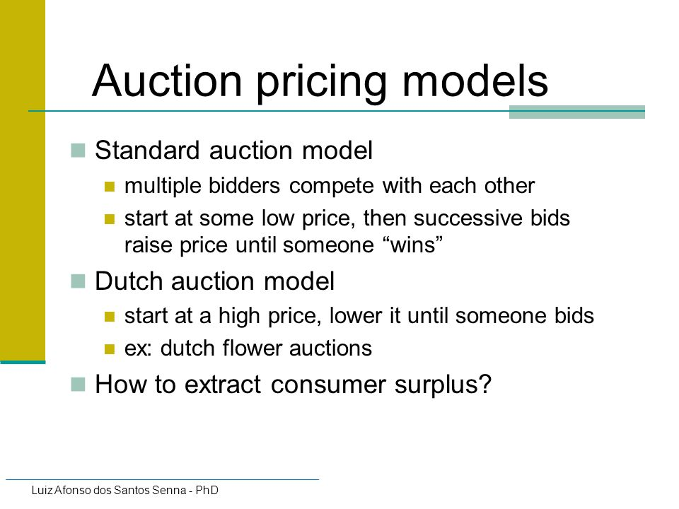 Auction pricing models