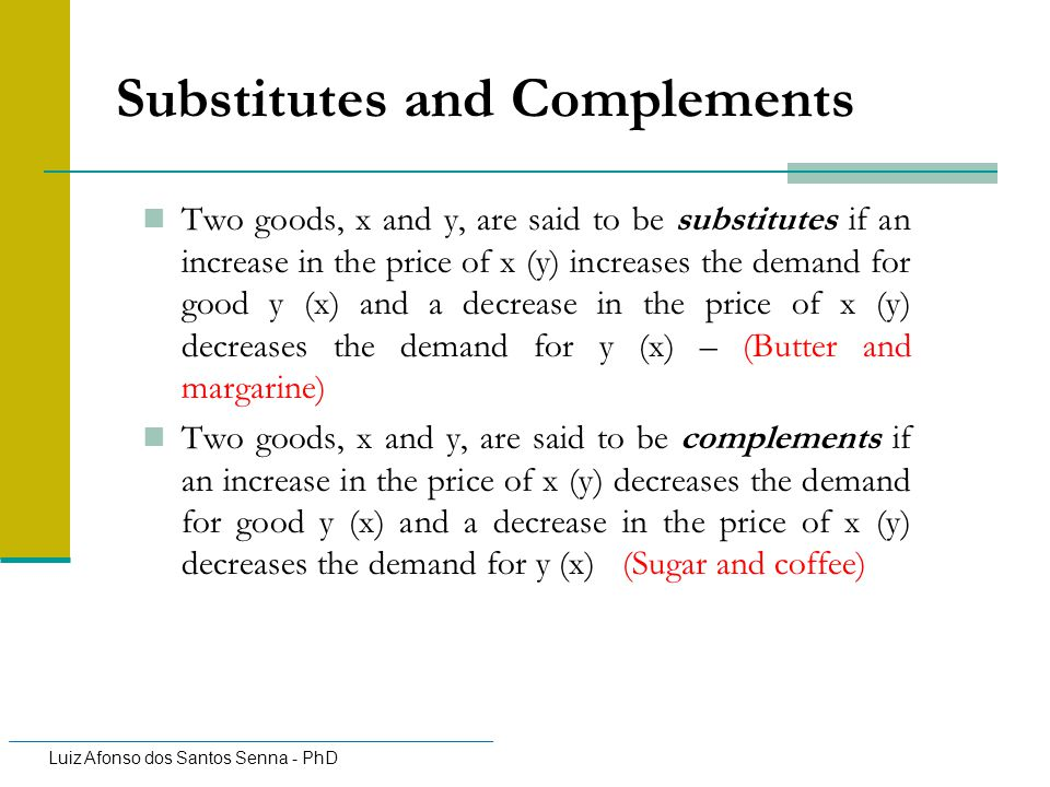 Substitutes and Complements