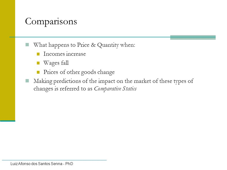 Comparisons What happens to Price & Quantity when: Incomes increase