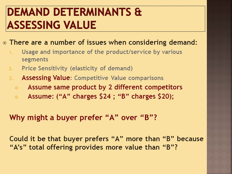 Demand Determinants & Assessing Value