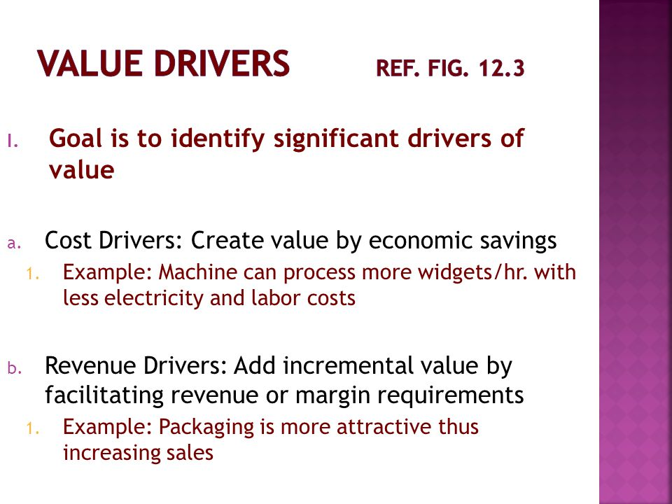 Value Drivers ref. Fig. 12.3 Goal is to identify significant drivers of value. Cost Drivers: Create value by economic savings.