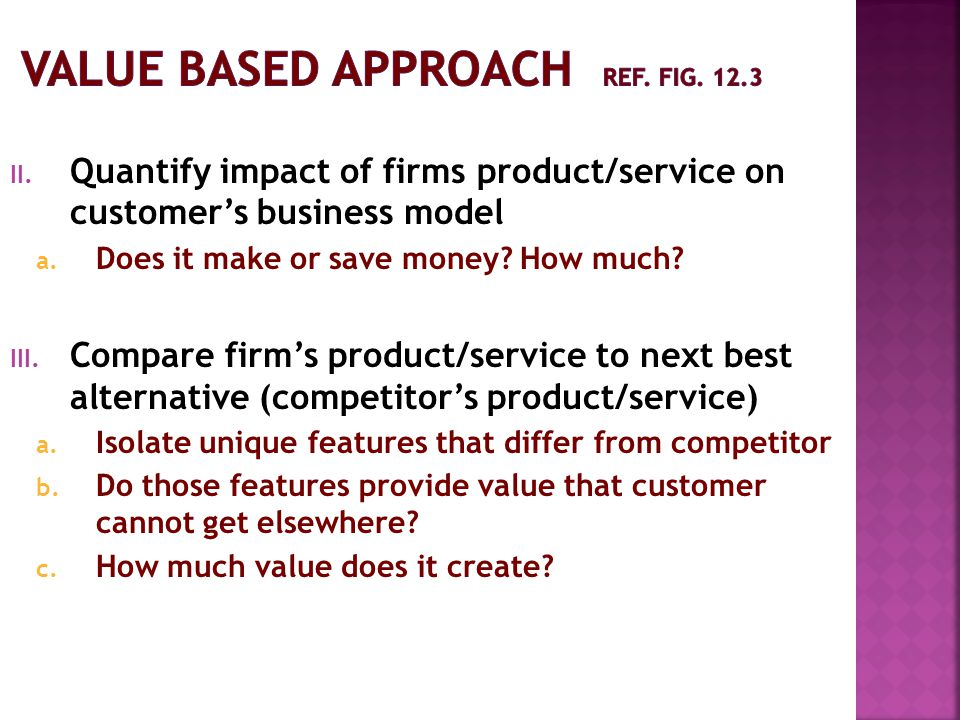 Value Based approach ref. fig. 12.3