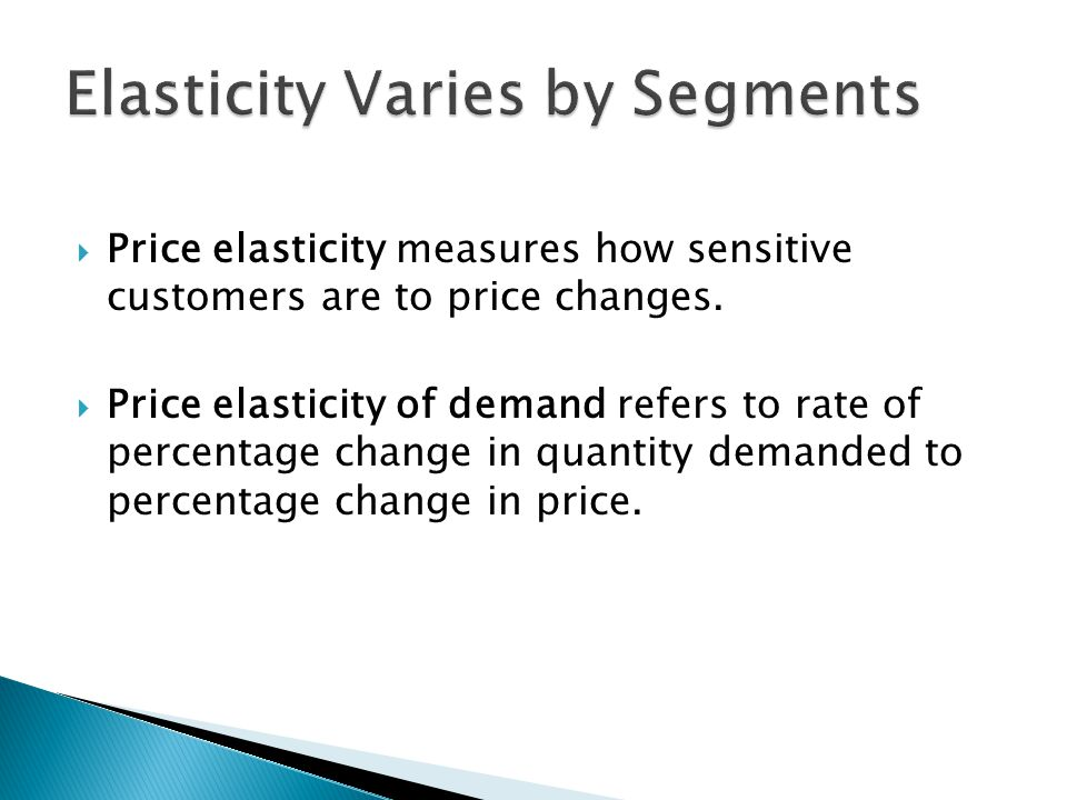Elasticity Varies by Segments