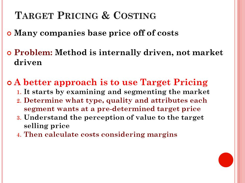 Target Pricing & Costing