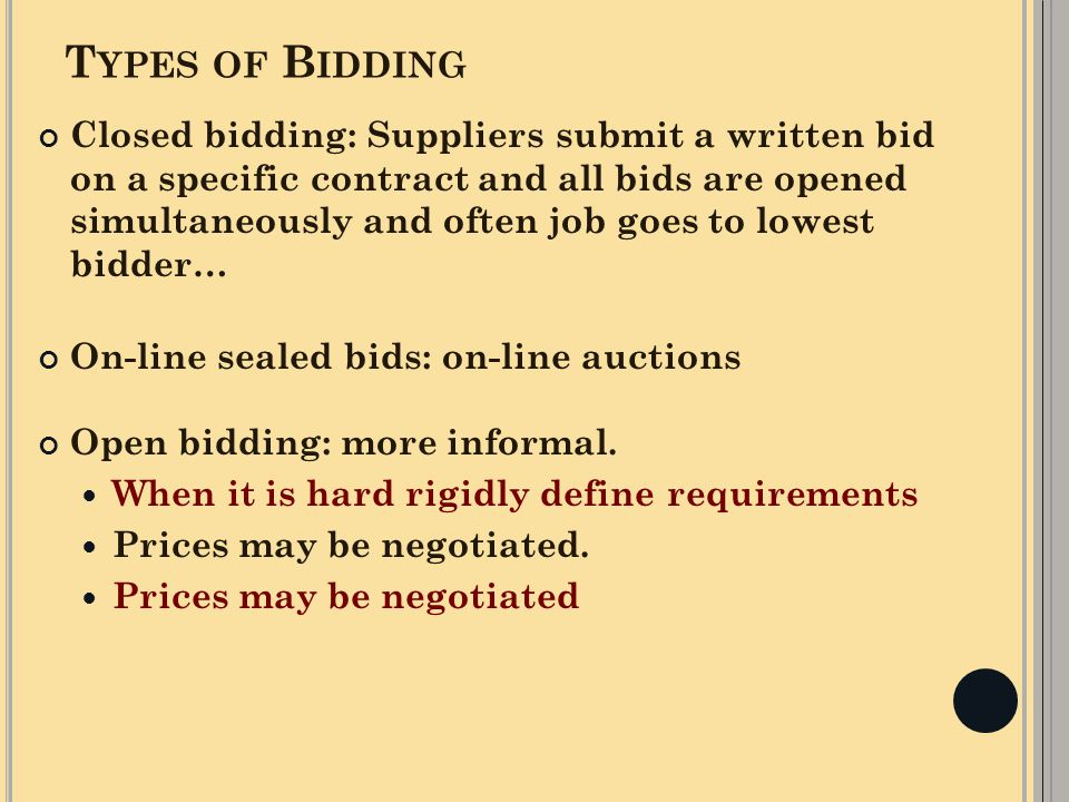 Types of Bidding