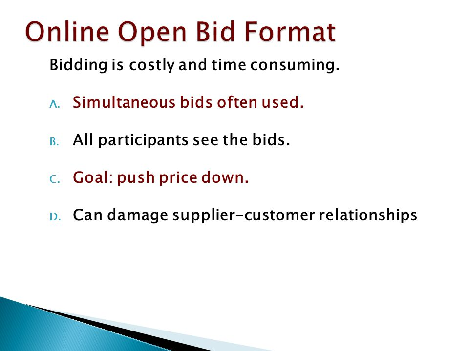 Online Open Bid Format Bidding is costly and time consuming.