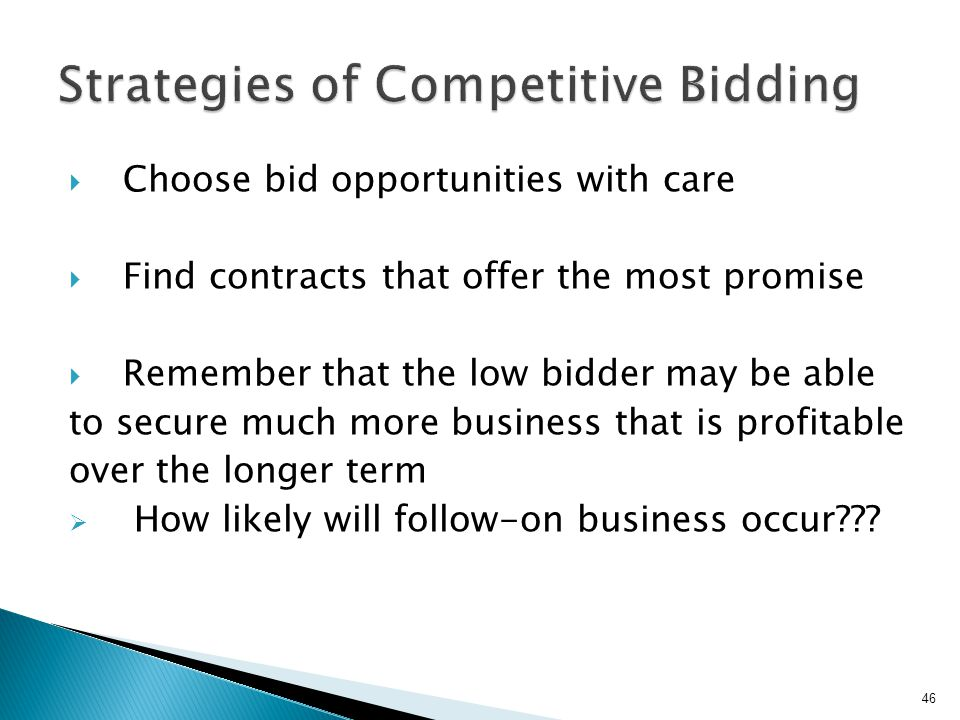 Strategies of Competitive Bidding