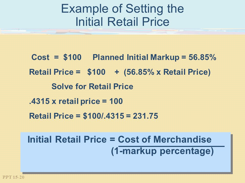 Example of Setting the Initial Retail Price