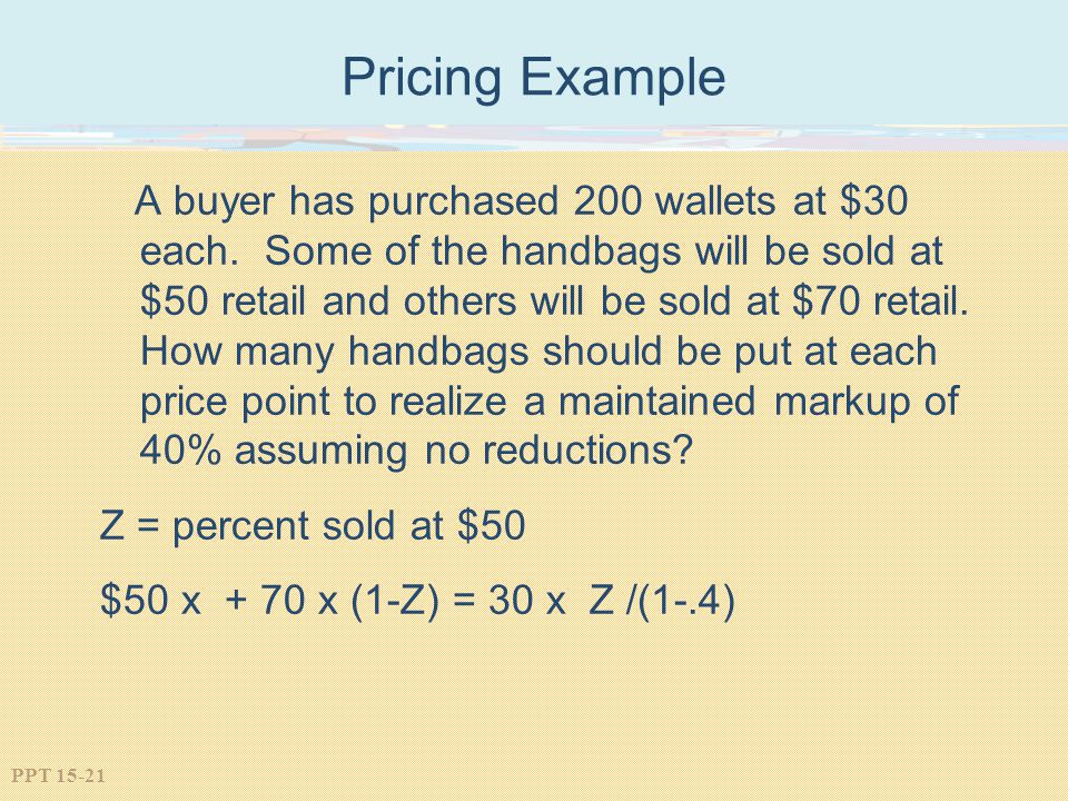 Pricing Example