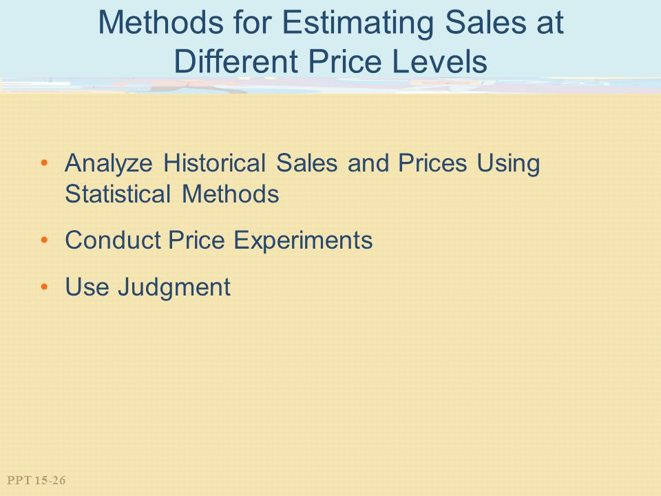 Methods for Estimating Sales at Different Price Levels