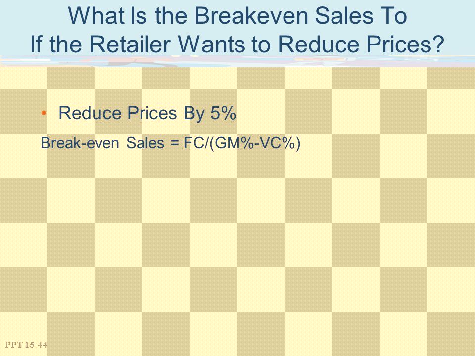 What Is the Breakeven Sales To If the Retailer Wants to Reduce Prices