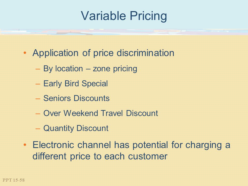Variable Pricing Application of price discrimination