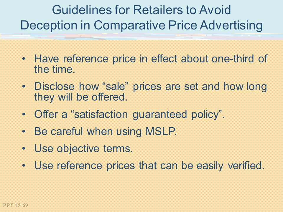 Guidelines for Retailers to Avoid Deception in Comparative Price Advertising