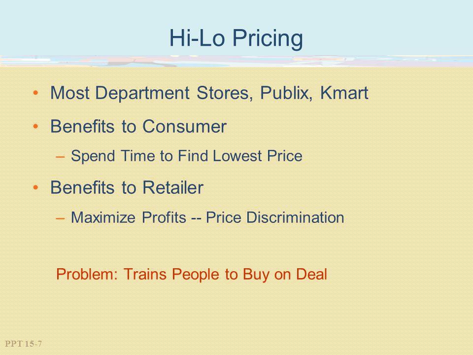Hi-Lo Pricing Most Department Stores, Publix, Kmart