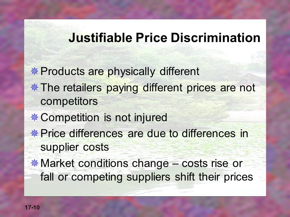 Justifiable Price Discrimination