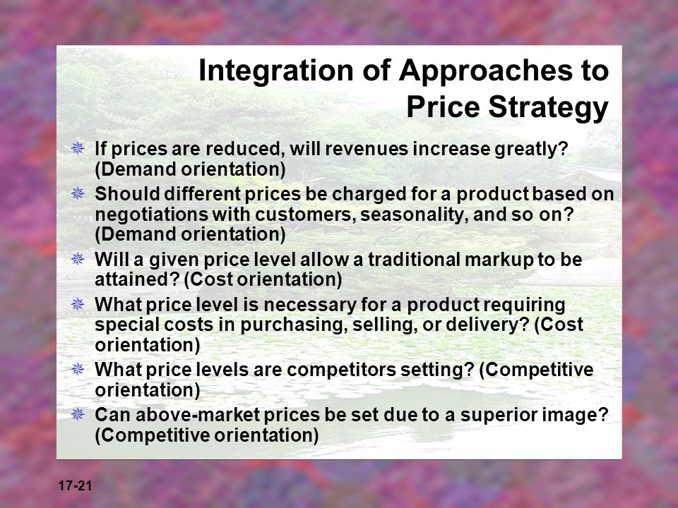 Integration of Approaches to Price Strategy