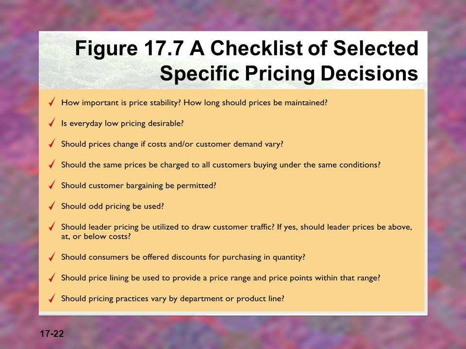 Figure 17.7 A Checklist of Selected Specific Pricing Decisions