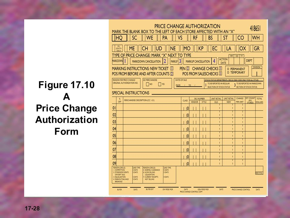 Figure 17.10 A Price Change Authorization Form